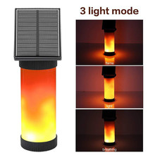 Solar Lights Street Outside Torch Human Body Induction Flame Lights Waterproof Flickering LED Simulated Flame Wall Lamp(China)