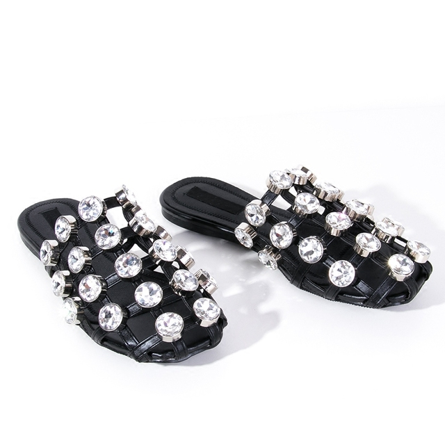 Plus Size New Big Crystal Black Home Slippers Women Flat Summer Shoes Woman  Rhinestone Women Slides Diamond Zapatos Mujer Sale 223d44aa5371
