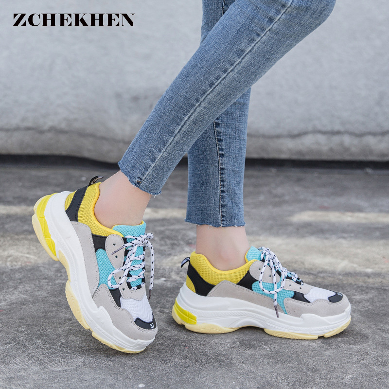2018 Autumn Harajuku retro women casual shoes   Suede     leather   platform shoes women dad sneakers Ladies Trainers chaussure femme
