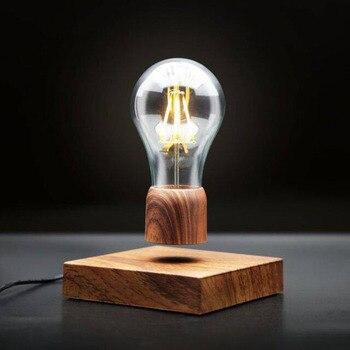 Ampoule flottant Magnétique Lévitation Lumière Ampoule Bureau Bois Grain Flottant 1