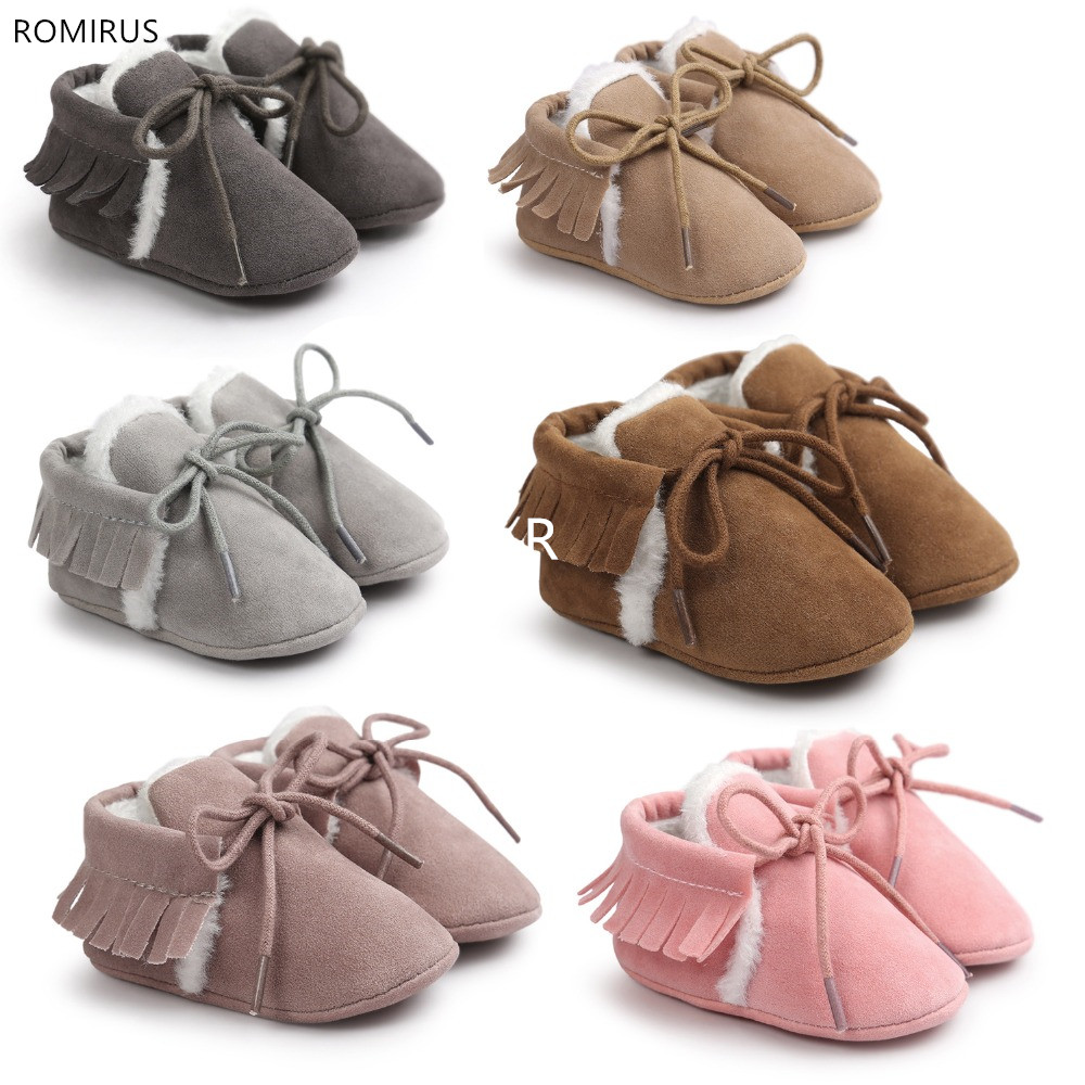 Romirus Pu Suede Leather Baby Shoes Lace Up Toddler Baby Moccasins With Fur Winter Keep Warm Boot Soft Sole Shoes Hot Sale