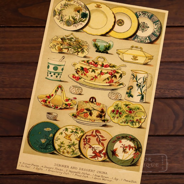DINNER AND DESSERT CHINA STYLE Restaurant Ad Vintage Classic Retro Canvas Poster DIY Wall Stickers Posters