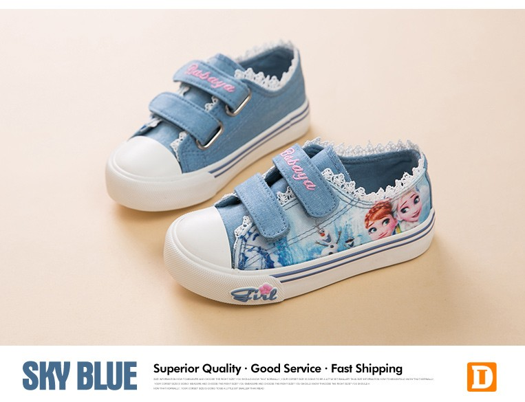 Princess Girls Shoes For Kids Fashion Elsa Anna Kids Shoes 2017 Ice Snow Queen Casual Denim Canvas Children Shoe Girl Sneakers 520 (9)