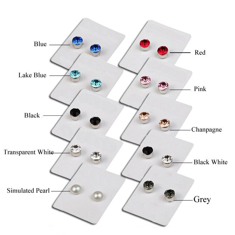 Colorful Zircon Magnetic Stud Earings For Women Men Baby No Piercing