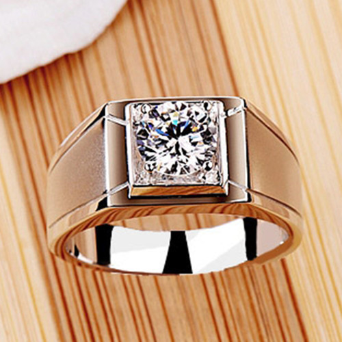 0 5CT Solid 18K White Gold Men s Wedding Ring Synthetic Diamond