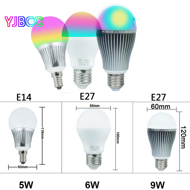 Led Full color RGB+CCT Dimmable 2.4G 5W 6W 9W Milight E14 E27 bulb Lamps and Wireless 4-Zone RF Remote Controller AC 85-265V e27 6w 6 led 540 lumen 6000k white light bulb 85 265v ac