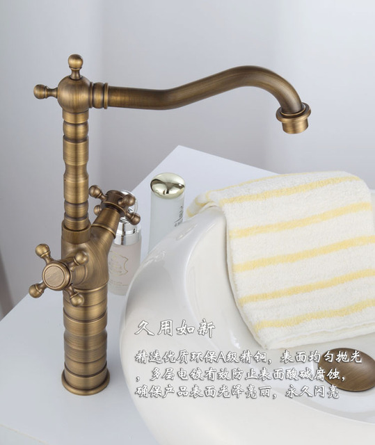 Double handle bamboo faucet with single lever golden bathroom basin ...
