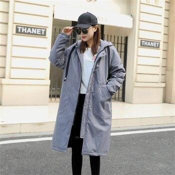 цена на 2020 Winter Coat Fashion Oversize Womens Jacket Thicken Hooded Down Cotton Coat Women Long Windbreaker Outerwear X17