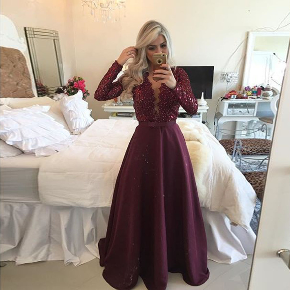 Robe De Soiree Long Sleeves Backless Burgundy Chiffon Long ...