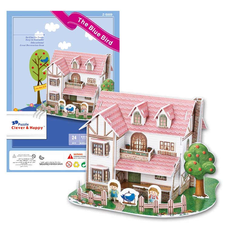 Candice guo 3D puzzle DIY toy paper building assemble hand work game story the blue bird Villa house love home birthday gift 1pc обувь для дома love the snow bird 8817 2015