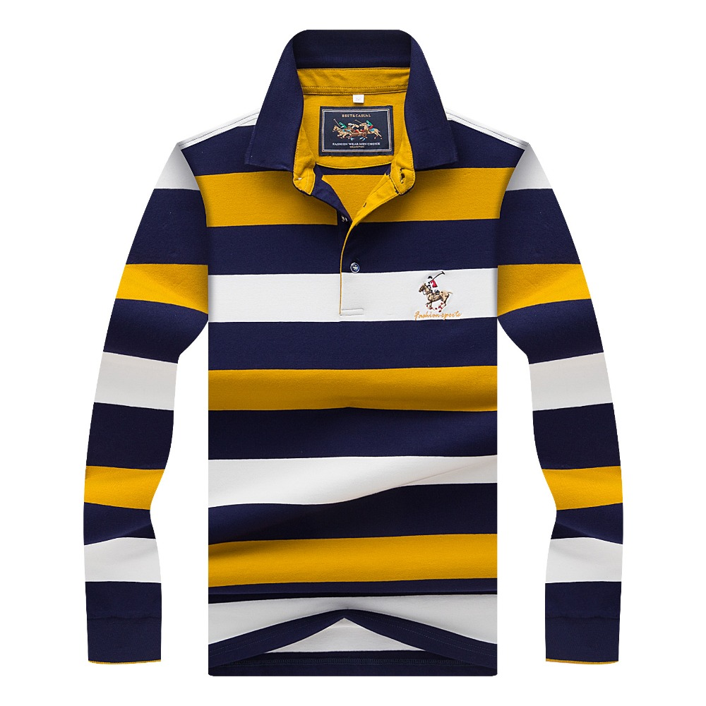 Hollirtiger 2019 Autumn Spring Mens POLO Shirt Male Turn-down Collar Cotton Polo Shirt Men Long Sleeve Stripes Embroidered Tees