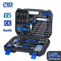 Prostormer 148 Pcs Household Woodworking Hand Tool Kit Car Repair Screwdriver Tool With Storage Toolbox Socket Wrench Tool Set