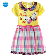 JUXINSU Toddler Summer Dresses Flower Butterfly Embroidery Girls Cotton Short Sleeve Dress for Your Little Girl 1-6 Years