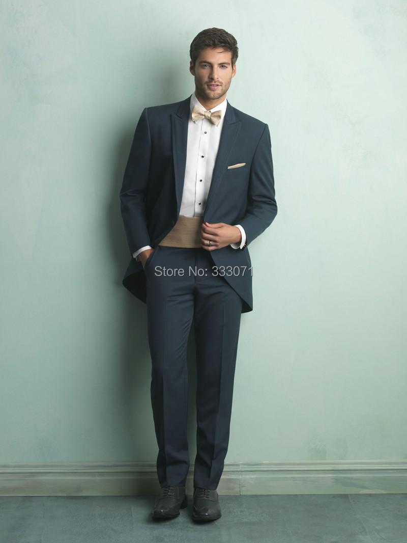 Slim Fit One Button Groom Tailcoat Blue Peak Lapel Best Man ...