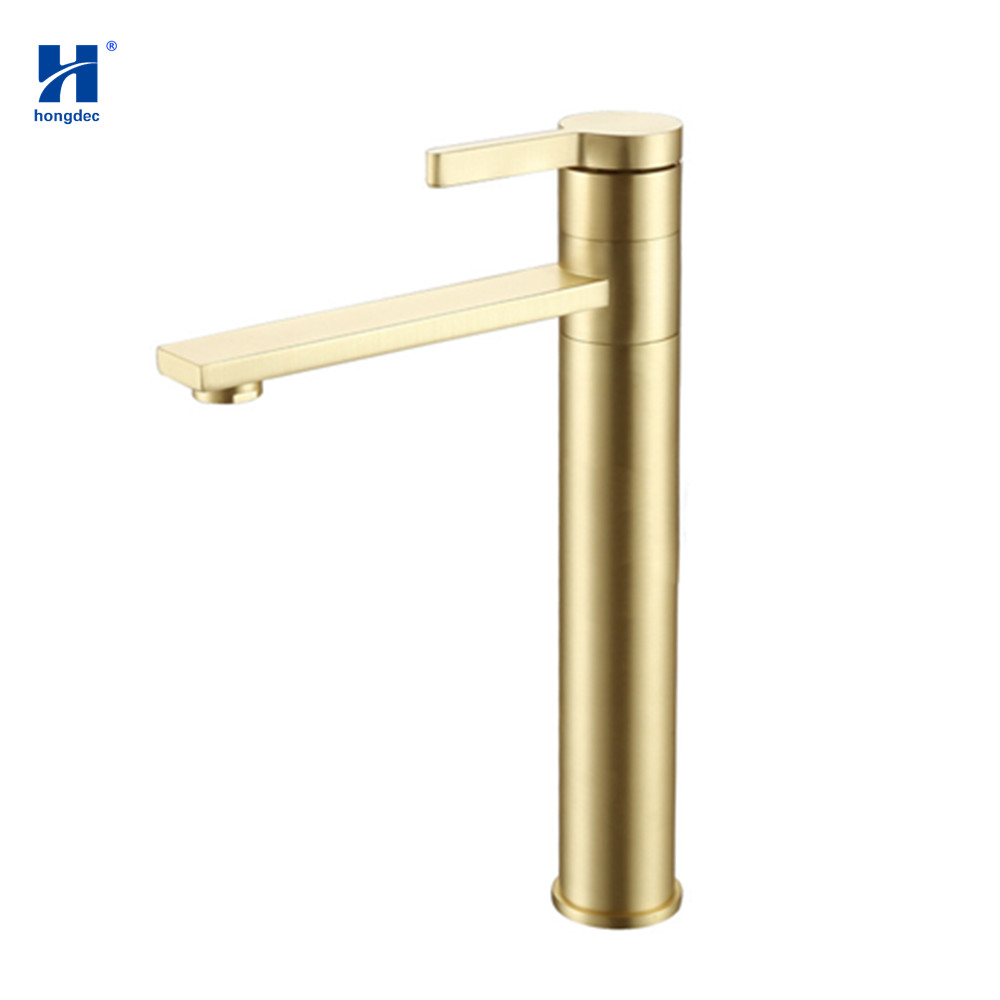 Hongdec Brushed Gold Single hole basin tap cold hot water bathroom Sink faucet