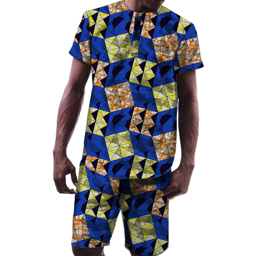 Fashion African Men Tops+Shorts set Dashiki Clothes Print Long Sleeve Man T shirt and Short pants Sets African Men Clothing