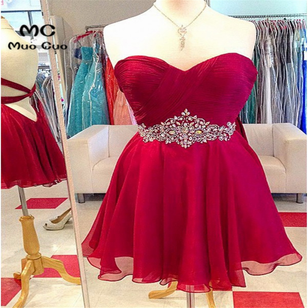 2018 Burgundy Homecoming Dress Short With Crystals Beaded Pleat Cocktail Party Dress Ball Gown Backless TUTU Homecoming Dress