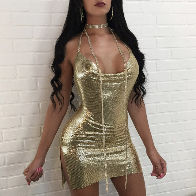 Low-Cut Halter Dresses