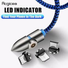 Acgicea 90 градусов светодиодный магнитный кабель Micro usb type C Быстрая зарядка Micro usb type C магнитное зарядное устройство для iPhone XR X xiaomi USB C