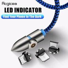 Acgicea 90 grados LED Cable magnético Micro USB tipo C carga rápida Microusb tipo C cargador magnético para iPhone XR X xiaomi USB C