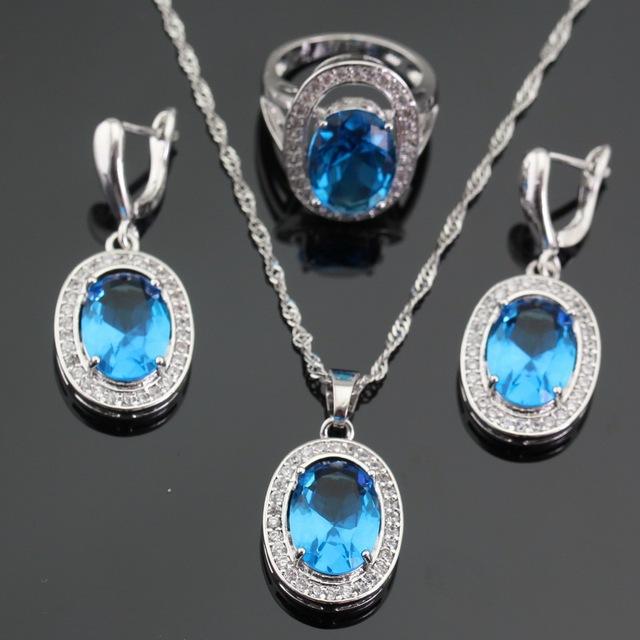 Mulheres de Prata Conjuntos de Jóias de Cor Azul Claro CZ Zircão Branco Colar Pingente Brincos Anéis de Natal Caixa de Presente Livre