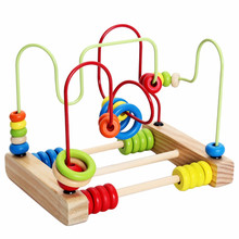 цена на Wire Maze Roller Coaster Abacus Early Educational Counting Circles Bead Around Wooden Math Calculate Toy For Baby Kids Children