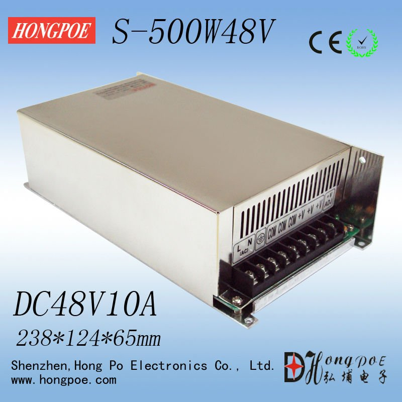 Best quality 48V 10A 500W Switching Power Supply Driver for LED Strip AC 100-240V Input to DC 48V free shipping 1200w 12v 100a adjustable 220v input single output switching power supply for led strip light ac to dc