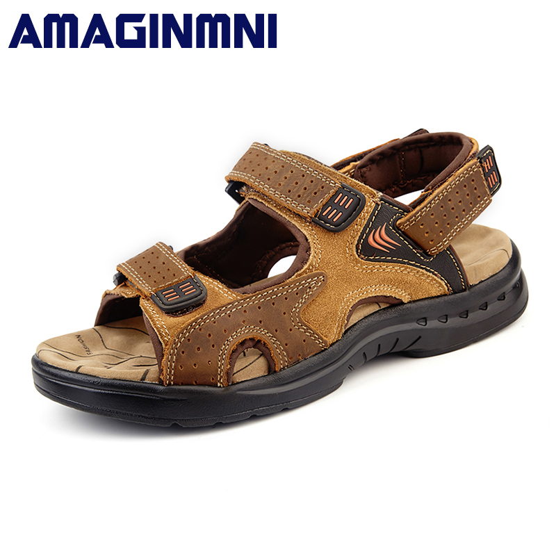 AMAGINMNI brand New Fashion men sandals slippers genuine leather cowhide male summer shoes outdoor casual suede leather sandals