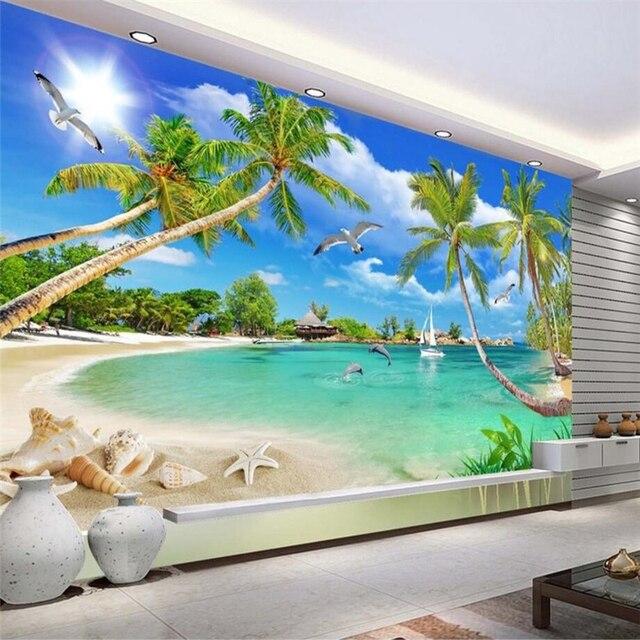 Beibehang Custom 3d Wall Paper Love Haiti Mediterranean Coconut Wallpaper Sofa Living Room TV Backdrop