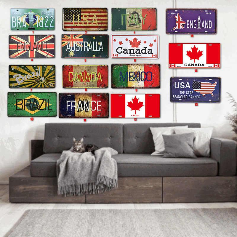بار علم الدولة الزخرفية لوحة معدنية خمر معدن القصدير تسجيل بار جدار الفن الحرفية اللوحة معدن القصدير شريط المنزل حانة ديكور 15x30 سنتيمتر