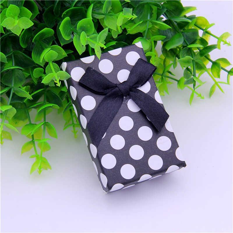 5*8 cm Hộp Đồ Trang Sức Giấy Dot In Vòng Cổ Bông Tai Vòng Hộp Quà Giáng Sinh Bao Bì Trang Sức Display 48 cái/lốc Miếng Bọt Biển màu đen
