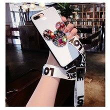 Funda de lujo con joyas para iPhone 6 6 s X 7 8 plus XS MAX XR cristal brillante dibujos animados Mickey funda de TPU con cordones