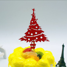 1pc Merry Christmas Cake Flag Topper Multi Colors Tree Flags For Xmas Party New Years Baking Decor