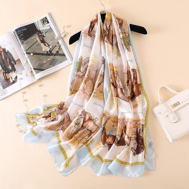 Luxury Brand Summer Women Scarves Soft Horse Print Silk Scarves Lady Shawl Wrap Designer Pashmina Bandana Beach Long Hijab