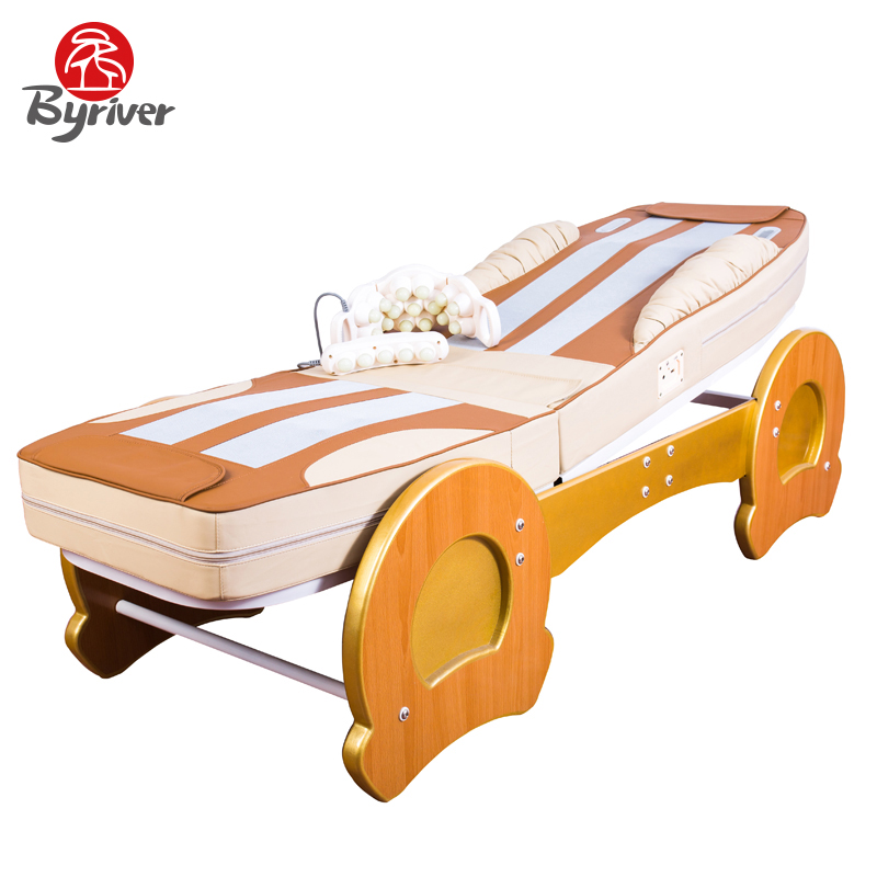 BYRIVER MultiFunction Electric Heating Jade Stone Massage Bed Massager pop relax electric vibrator jade massager light heating therapy natural jade stone body relax handheld massage device massager