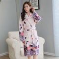 Women's Winter Flannel bathrobes  Floral long warm bathrobe home robe