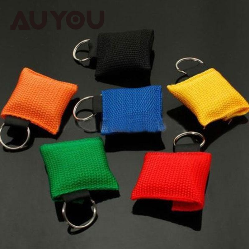AUYOU 5PCS Disposable CPR Resuscitator Mask Keychain Key Ring Face Shield Health Care /Factory Package
