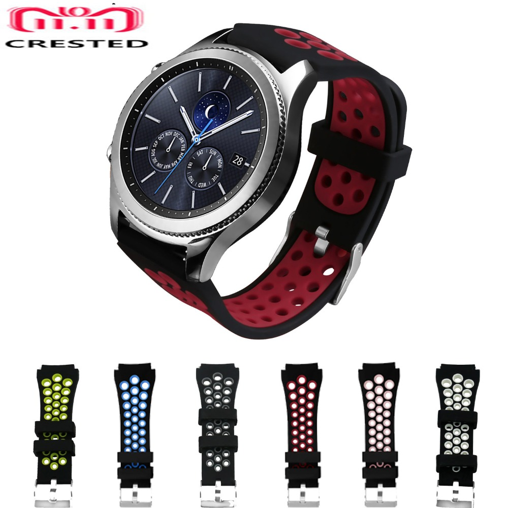 CRESTED sport band for samsung gear s3 Frontier/Classic silicone replacement wrist band rubber watch strap for samsung gear S3 18 colors rubber wrist strap for samsung gear s3 frontier silicone watch band for samsung gear s3 classic bracelet band 22mm