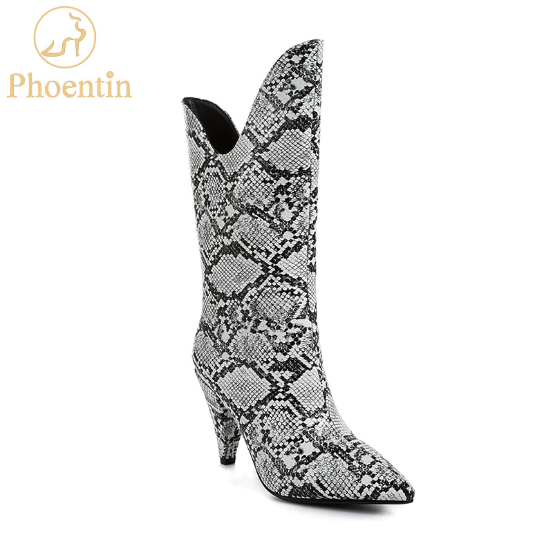 Phoentin 2019 new arrival snake print booties spike high heels v shape top pointed toe pu leather slip on mid calf boots FT710