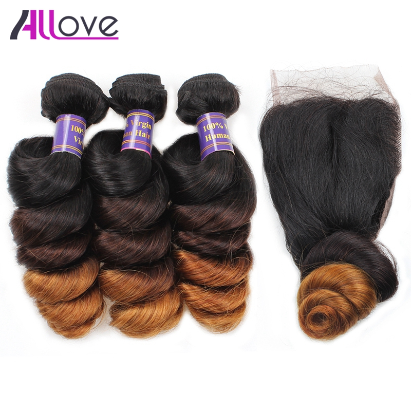 Allove Ombre Bundles with Closure Ombre Loose Wave Bundles with Closure 3 Bundles Remy Indian Human