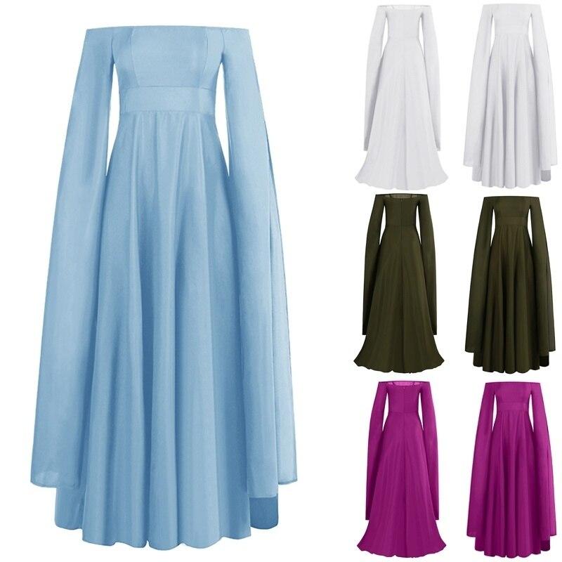 Plus Size S-5XL Womens Vintage Medieval Floor Length Dress Off Shoulder Half Sleeve Cosplay Dress Princess Dresses 5 Colors