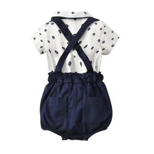 Image 3 - Baby Boy Clothing Set Summer Toddler Clothes Gentleman Bowtie Bodysuit+Straps Braces Shorts Infant Wedding wedding Outfit Suit