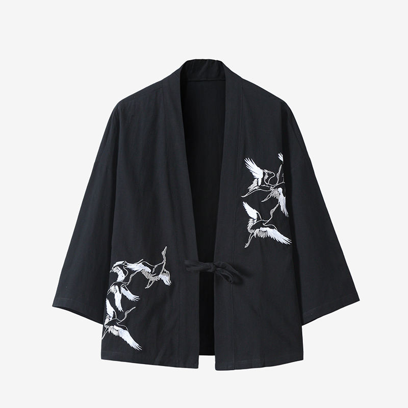 Japanese Harajuku Kimono Cardigan Men Black Japanese Kimono Men Samurai Costume Male Yukata Haori Japanese Clothing