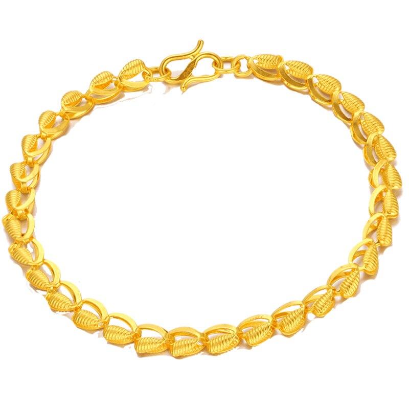 Bracelet en or jaune massif 24 K Bracelet à maillons Phoenix élégant en or 999 pour femme