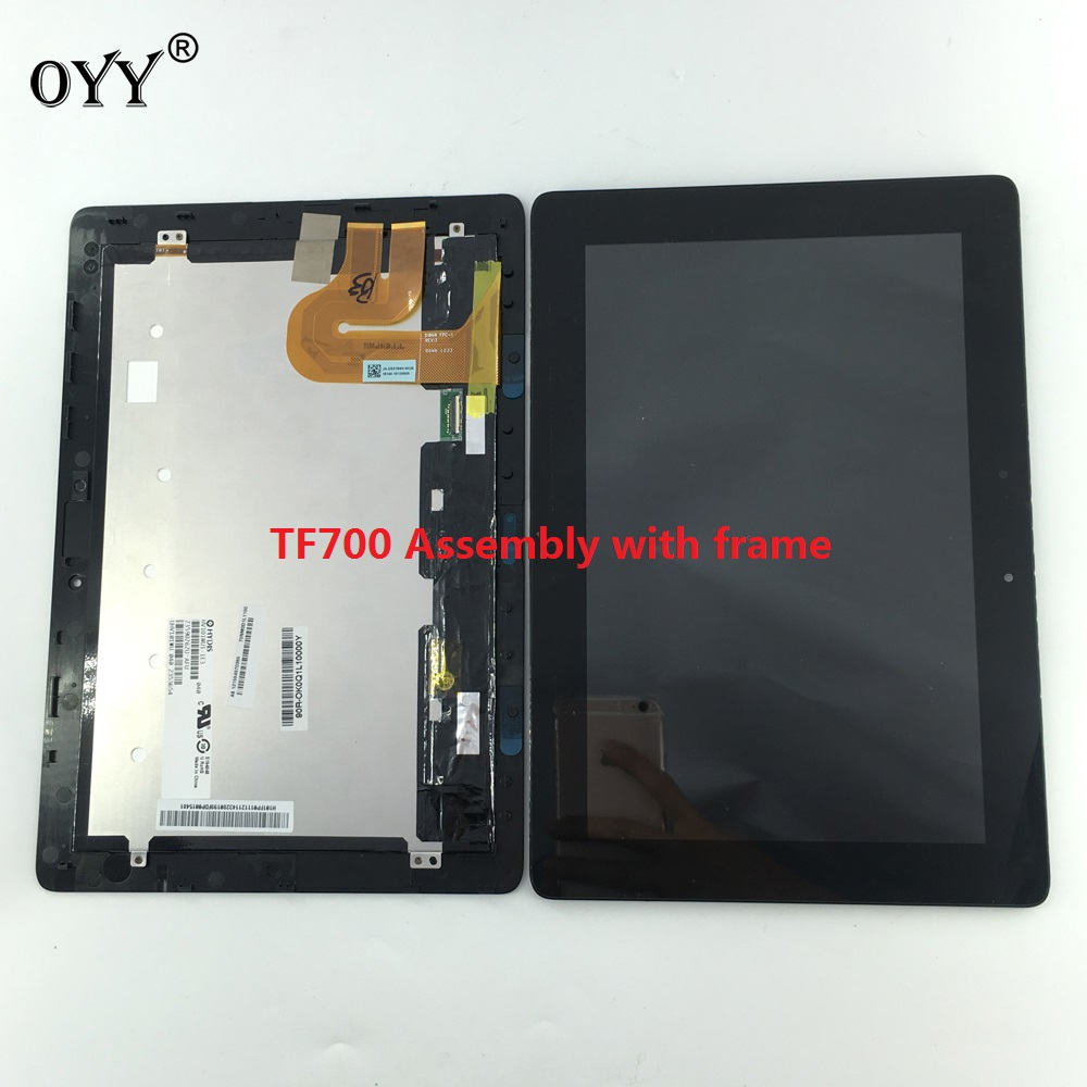 LCD Display Touch Screen Digitizer Glass Assembly with frame For Asus Transformer Pad TF700 TF700T TCP10D47 V0.2 5184N FPC-1 used parts lcd display monitor touch screen panel digitizer assembly frame for asus memo pad smart me301 me301t k001 tf301t