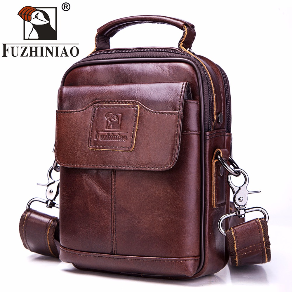 FUZHINIAO Genuine Cow Leather Messenger Bags Flap Fashion Men Solid Handbags Famous Brand Small Male Shoulder Crossbody Bags