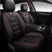 Universal Luxury Edition Full Seat PU Leather Car Seat Cover Cushion Pad 5D Surround Breathable With Headrests and Waist Pillows