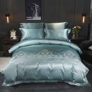 Image 3 - Jacquard Silk Cotton Luxury Bedding Sets King Size Queen Bed Set Lace Duvet Cover Bed Sheet Pillowcase White bed linen gift