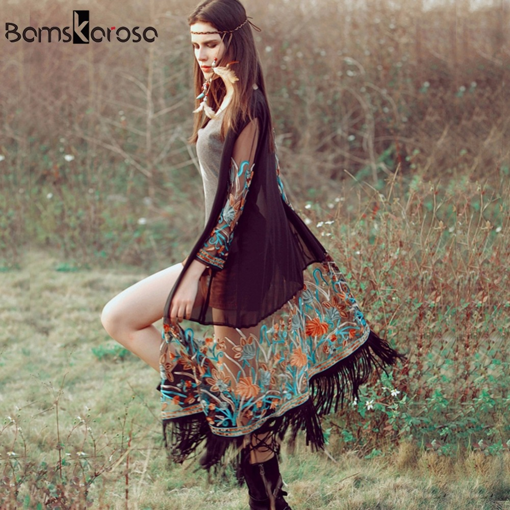 Bamskarosa Bohemian Style 2018 Summer Kimono Cardigan Casual Fashion Boho Hippie Embroidery