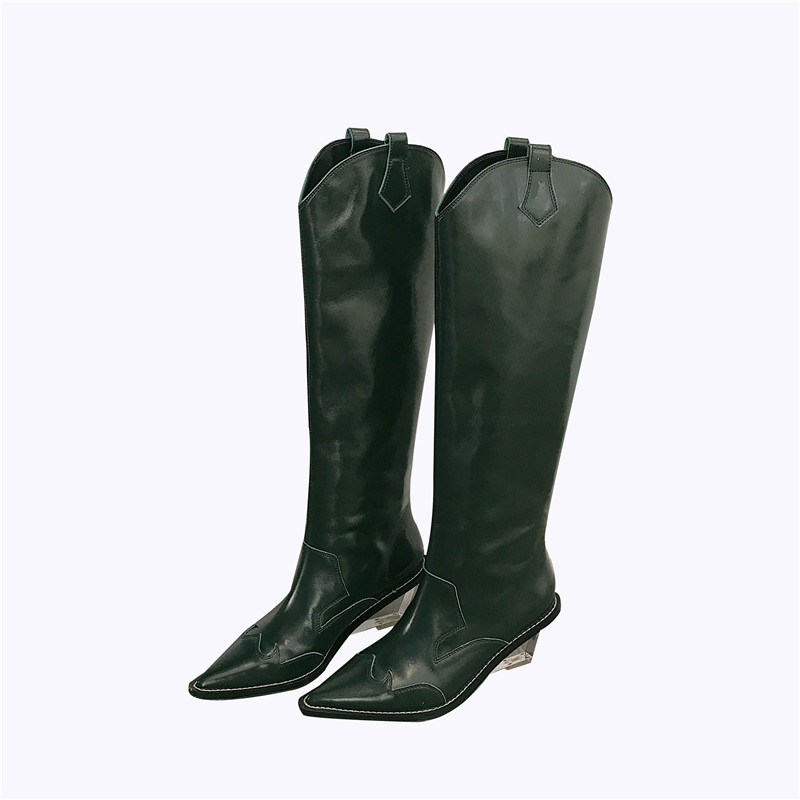 Seltsamen Heel Spitz Ferse Stil Green Keile Kristall dark Damen Schuhe Botas Frauen Stiefel Mujer Knsvvli Black Runway Neue Kniehohe High q7SwAg86g